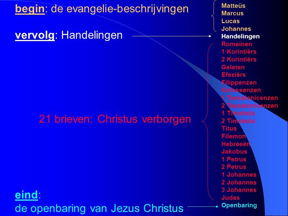 eind: de openbaring van Jezus Christus Matteüs Marcus Lucas Johannes Handelingen Romeinen 1 Korintiërs 2 Korintiërs Galaten Efeziërs Filippenzen Kolos
