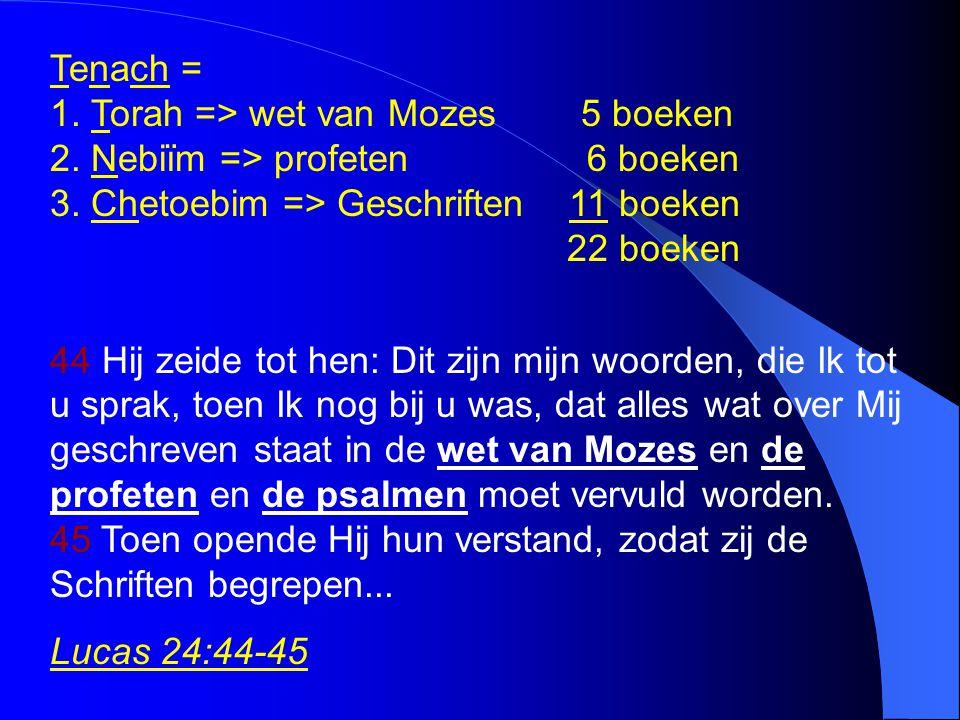 Tenach = 1. Torah => wet van Mozes 5 boeken 2. Nebiïm => profeten 6 boeken 3. Chetoebim => Geschriften 11 boeken 22 boeken 44 Hij zeide tot hen: Dit z