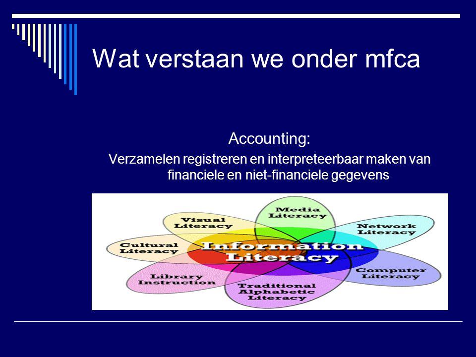 Wat verstaan we onder mfca Accounting: Verzamelen registreren en interpreteerbaar maken van financiele en niet-financiele gegevens