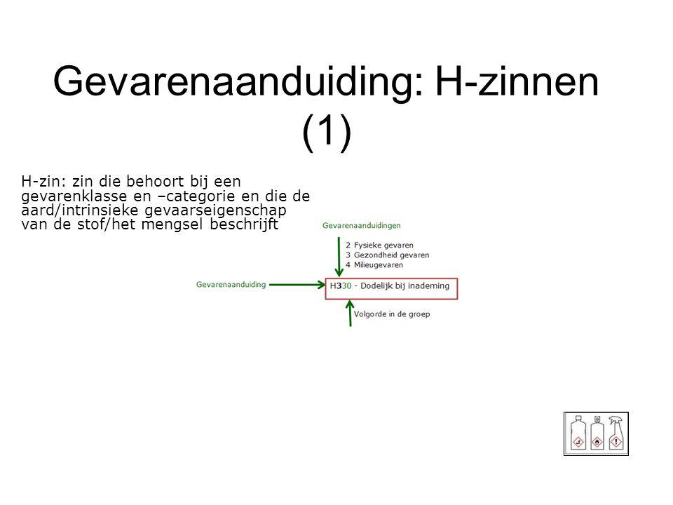 Gevarenaanduiding: H-zinnen (1) 17 H-zin: zin die behoort bij een gevarenklasse en –categorie en die de aard/intrinsieke gevaarseigenschap van de stof