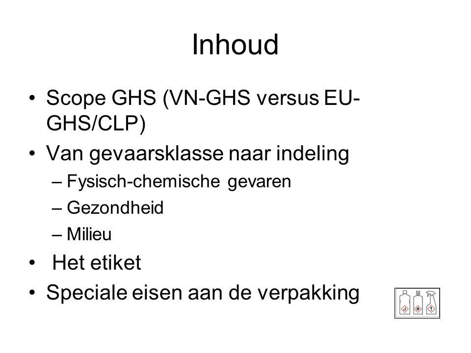 Inhoud •Scope GHS (VN-GHS versus EU- GHS/CLP) •Van gevaarsklasse naar indeling –Fysisch-chemische gevaren –Gezondheid –Milieu • Het etiket •Speciale e