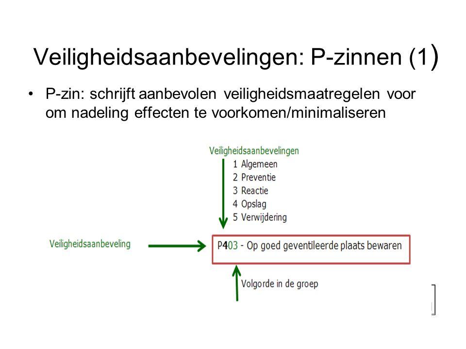 Veiligheidsaanbevelingen: P-zinnen (1 ) •P-zin: schrijft aanbevolen veiligheidsmaatregelen voor om nadeling effecten te voorkomen/minimaliseren 20