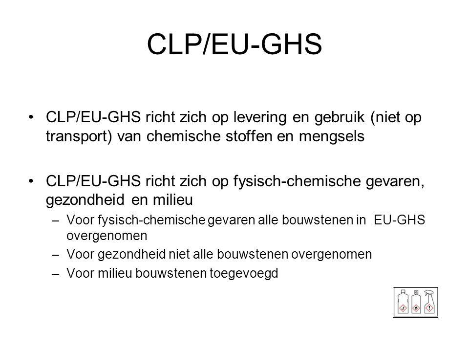 CLP/EU-GHS •CLP/EU-GHS richt zich op levering en gebruik (niet op transport) van chemische stoffen en mengsels •CLP/EU-GHS richt zich op fysisch-chemi