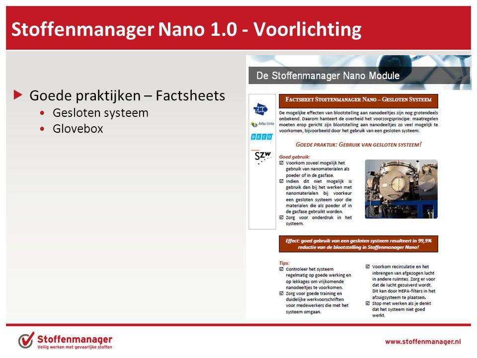 Stoffenmanager Nano 1.0 - Voorlichting  Goede praktijken – Factsheets •Gesloten systeem •Glovebox