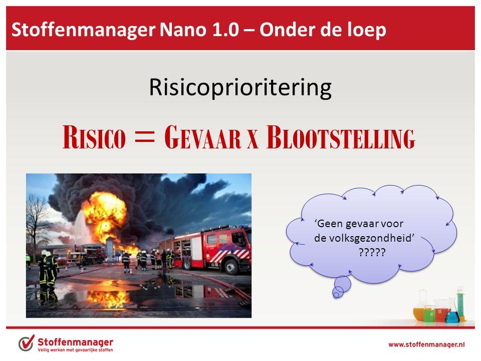 Stoffenmanager Nano 1.0 – Onder de loep Risicoprioritering R ISICO = G EVAAR X B LOOTSTELLING 'Geen gevaar voor de volksgezondheid' ????.