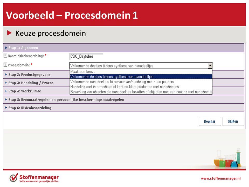 Voorbeeld – Procesdomein 1  Keuze procesdomein