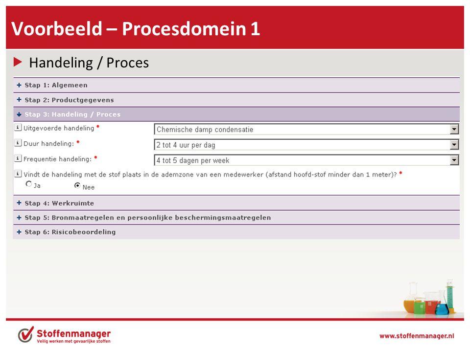 Voorbeeld – Procesdomein 1  Handeling / Proces