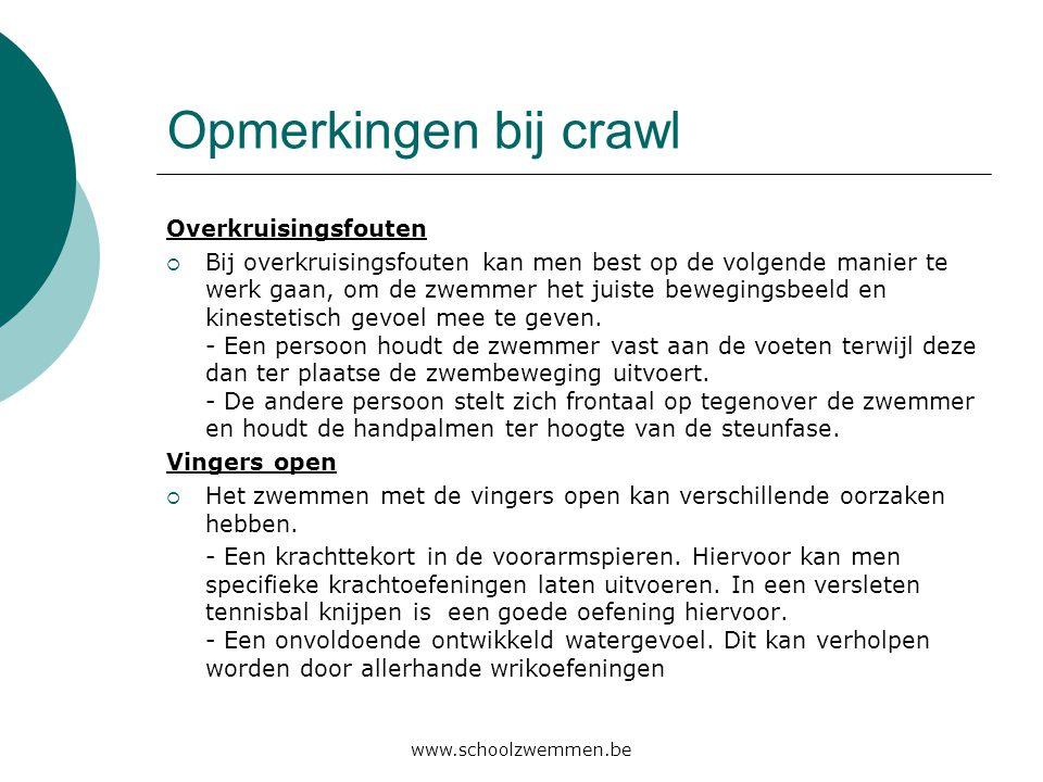 www.schoolzwemmen.be Opmerkingen bij crawl Overkruisingsfouten  Bij overkruisingsfouten kan men best op de volgende manier te werk gaan, om de zwemme