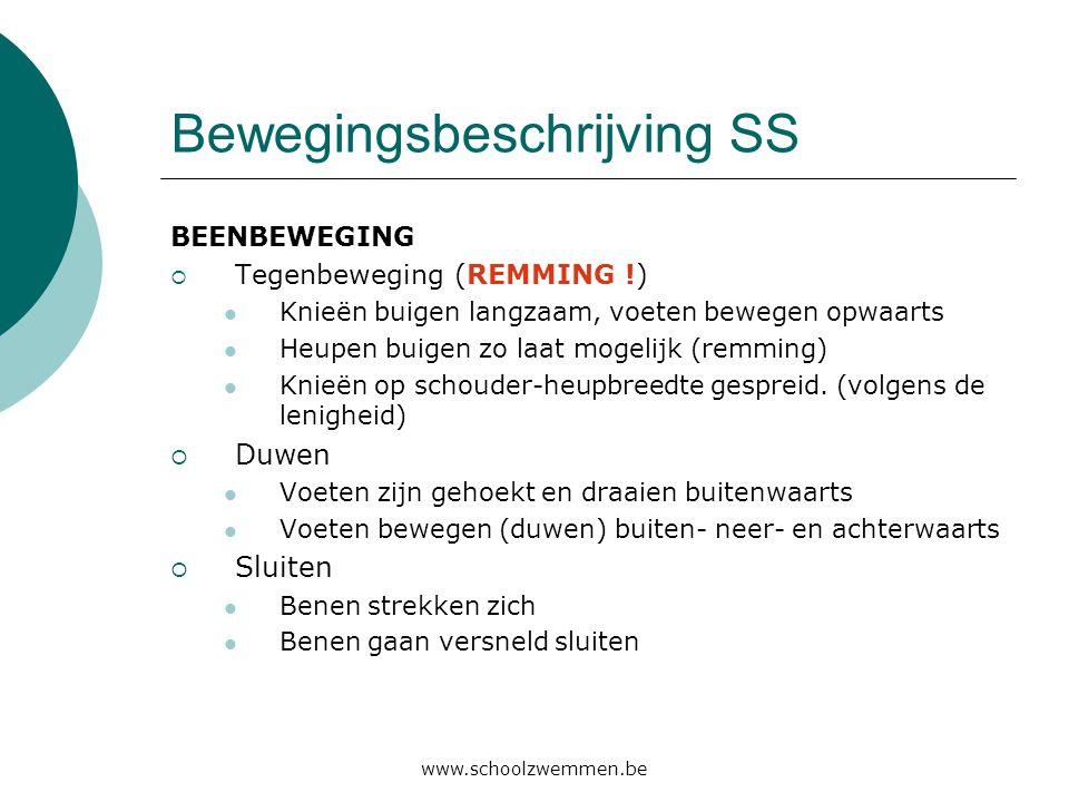 www.schoolzwemmen.be Bewegingsbeschrijving SS BEENBEWEGING  Tegenbeweging (REMMING !)  Knieën buigen langzaam, voeten bewegen opwaarts  Heupen buig