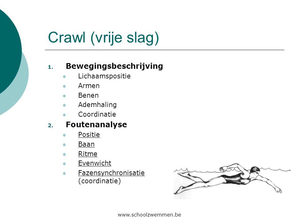 www.schoolzwemmen.be Crawl (vrije slag) 1. Bewegingsbeschrijving  Lichaamspositie  Armen  Benen  Ademhaling  Coordinatie 2. Foutenanalyse  Posit