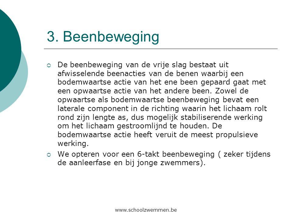 www.schoolzwemmen.be 3. Beenbeweging  De beenbeweging van de vrije slag bestaat uit afwisselende beenacties van de benen waarbij een bodemwaartse act