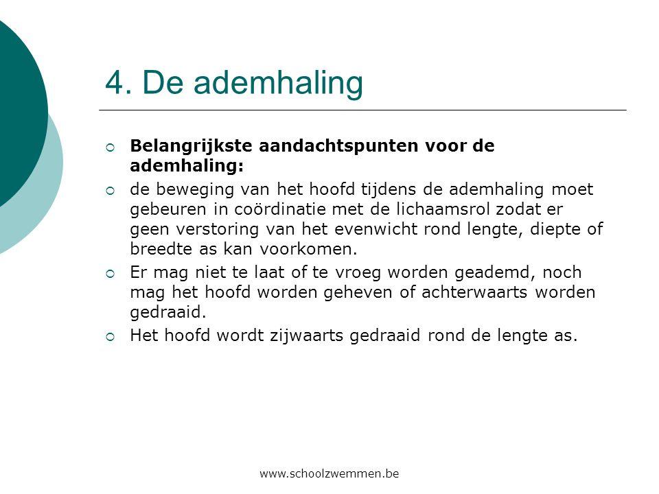 www.schoolzwemmen.be 4. De ademhaling  Belangrijkste aandachtspunten voor de ademhaling:  de beweging van het hoofd tijdens de ademhaling moet gebeu