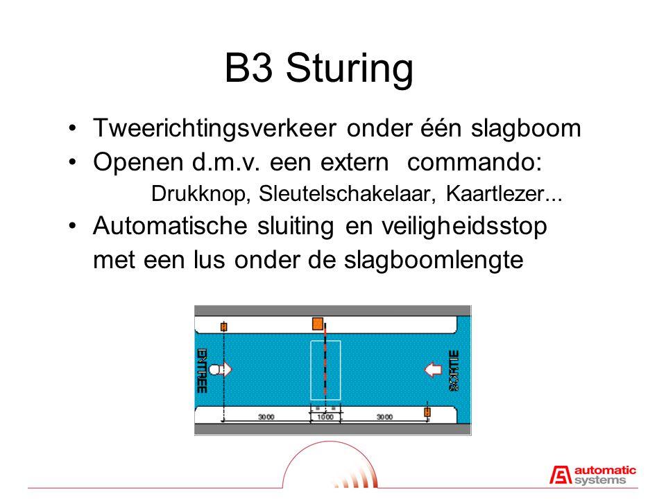 A3 Sturing •Commando's via drukknoppendoos : Openen - Sluiten - Stop •Geen aansluiting voor detectielus