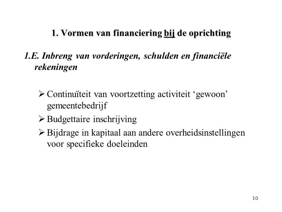 10 1. Vormen van financiering bij de oprichting 1.E. Inbreng van vorderingen, schulden en financiële rekeningen  Continuïteit van voortzetting activi