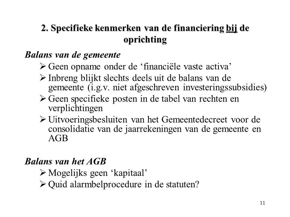 11 2. Specifieke kenmerken van de financiering bij de oprichting Balans van de gemeente  Geen opname onder de 'financiële vaste activa'  Inbreng bli
