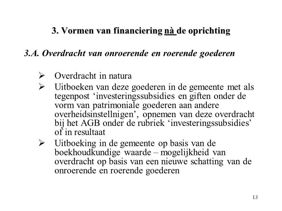 13 3. Vormen van financiering nà de oprichting 3.A. Overdracht van onroerende en roerende goederen  Overdracht in natura  Uitboeken van deze goedere