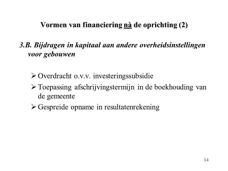 14 Vormen van financiering nà de oprichting (2) 3.B. Bijdragen in kapitaal aan andere overheidsinstellingen voor gebouwen  Overdracht o.v.v. invester