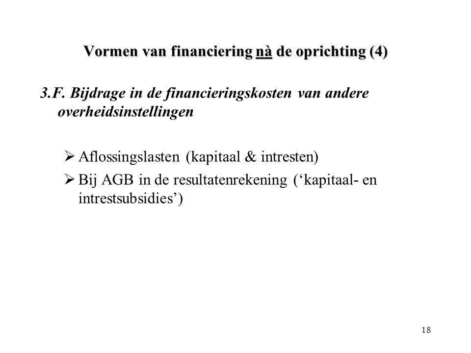 18 Vormen van financiering nà de oprichting (4) 3.F. Bijdrage in de financieringskosten van andere overheidsinstellingen  Aflossingslasten (kapitaal