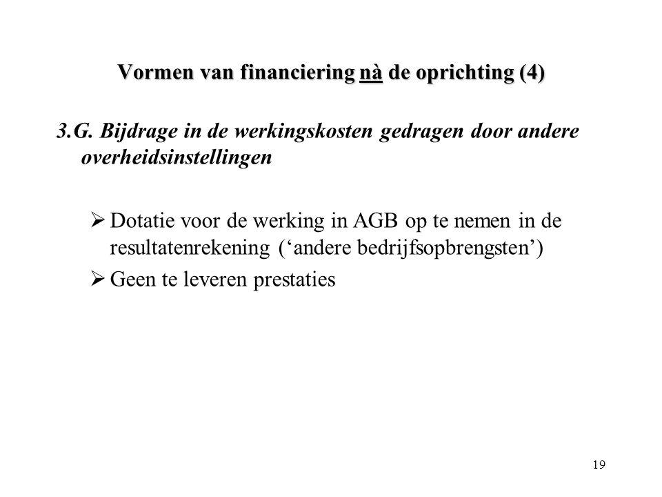 19 Vormen van financiering nà de oprichting (4) 3.G. Bijdrage in de werkingskosten gedragen door andere overheidsinstellingen  Dotatie voor de werkin