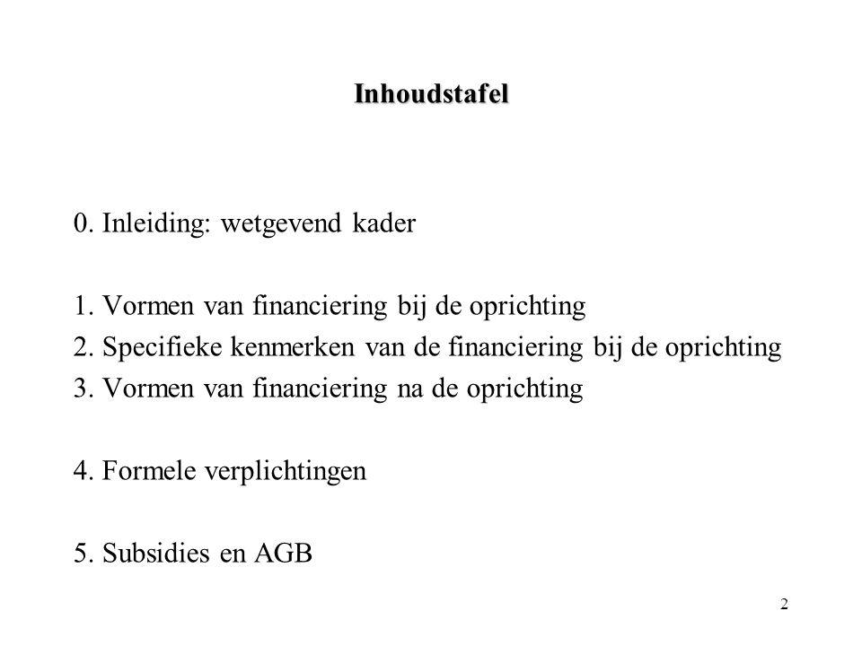 2 Inhoudstafel 0. Inleiding: wetgevend kader 1. Vormen van financiering bij de oprichting 2. Specifieke kenmerken van de financiering bij de oprichtin