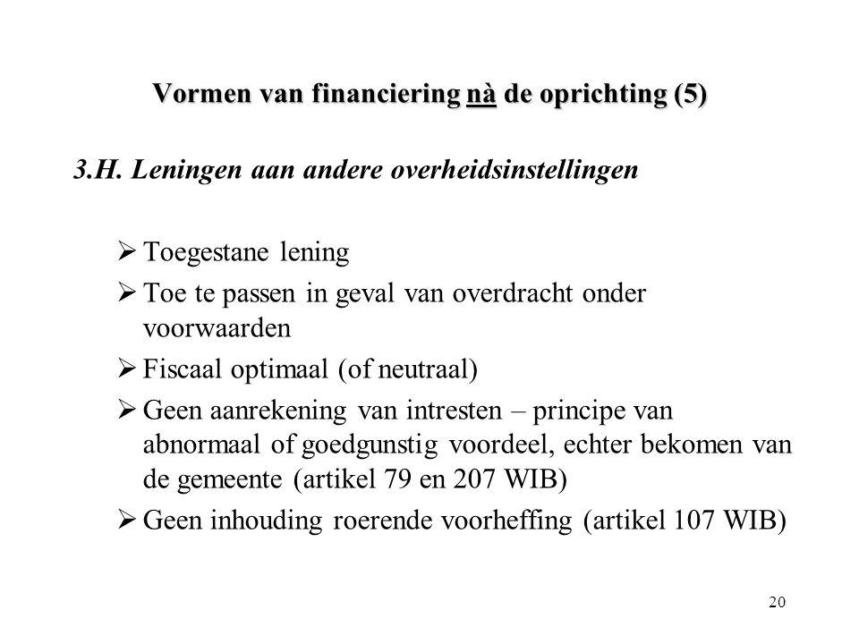 20 Vormen van financiering nà de oprichting (5) 3.H. Leningen aan andere overheidsinstellingen  Toegestane lening  Toe te passen in geval van overdr