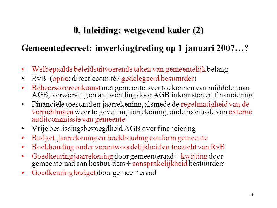 4 0. Inleiding: wetgevend kader (2) Gemeentedecreet: inwerkingtreding op 1 januari 2007…? •Welbepaalde beleidsuitvoerende taken van gemeentelijk belan