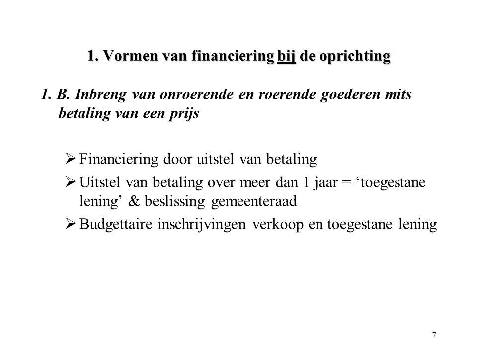 7 1. Vormen van financiering bij de oprichting 1. B. Inbreng van onroerende en roerende goederen mits betaling van een prijs  Financiering door uitst