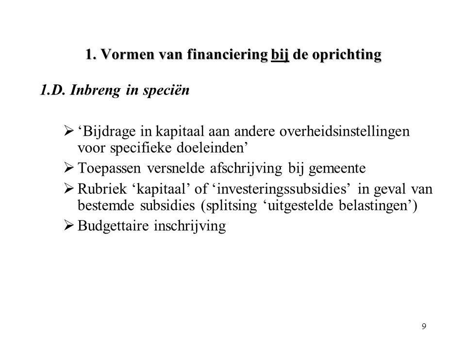 9 1. Vormen van financiering bij de oprichting 1.D. Inbreng in speciën  'Bijdrage in kapitaal aan andere overheidsinstellingen voor specifieke doelei