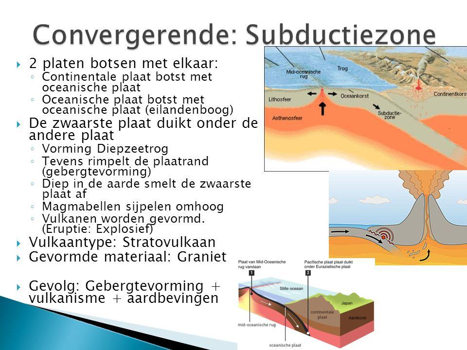  2 platen botsen met elkaar: ◦ Continentale plaat botst met oceanische plaat ◦ Oceanische plaat botst met oceanische plaat (eilandenboog)  De zwaarste plaat duikt onder de andere plaat ◦ Vorming Diepzeetrog ◦ Tevens rimpelt de plaatrand (gebergtevorming) ◦ Diep in de aarde smelt de zwaarste plaat af ◦ Magmabellen sijpelen omhoog ◦ Vulkanen worden gevormd.