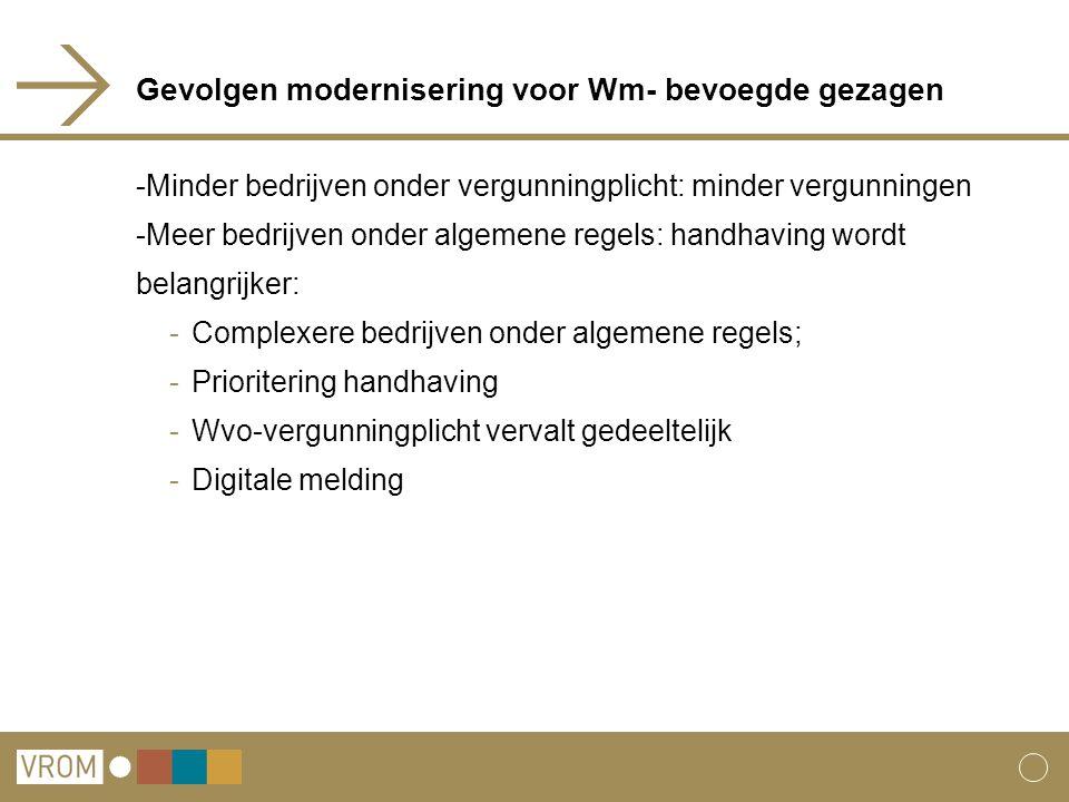 Gevolgen modernisering voor Wm- bevoegde gezagen -Minder bedrijven onder vergunningplicht: minder vergunningen -Meer bedrijven onder algemene regels: