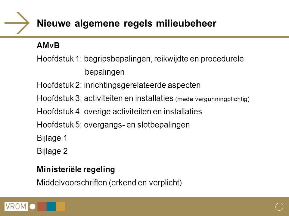 Nieuwe algemene regels milieubeheer AMvB Hoofdstuk 1: begripsbepalingen, reikwijdte en procedurele bepalingen Hoofdstuk 2: inrichtingsgerelateerde aspecten Hoofdstuk 3: activiteiten en installaties (mede vergunningplichtig) Hoofdstuk 4: overige activiteiten en installaties Hoofdstuk 5: overgangs- en slotbepalingen Bijlage 1 Bijlage 2 Ministeriële regeling Middelvoorschriften (erkend en verplicht)