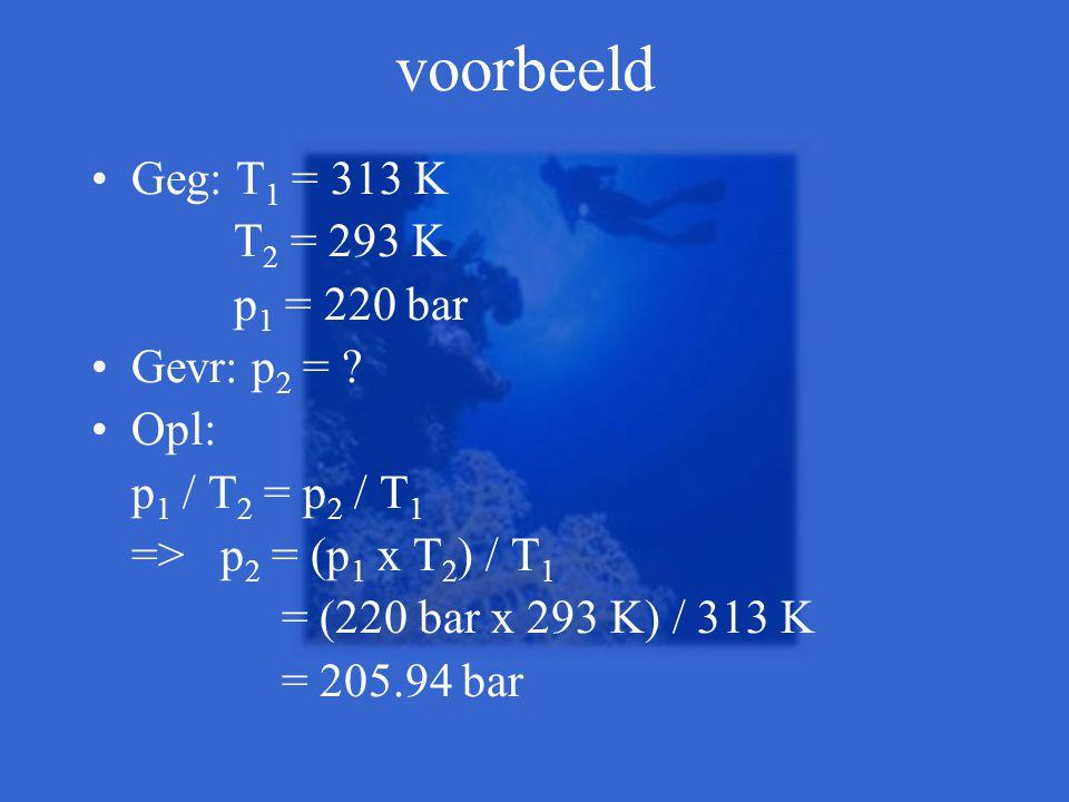 voorbeeld •Geg: T 1 = 313 K T 2 = 293 K p 1 = 220 bar •Gevr: p 2 = ? •Opl: p 1 / T 2 = p 2 / T 1 => p 2 = (p 1 x T 2 ) / T 1 = (220 bar x 293 K) / 313