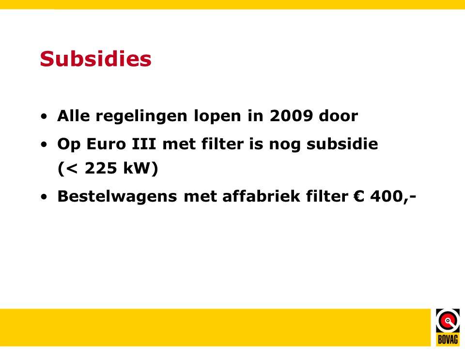Subsidies •Alle regelingen lopen in 2009 door •Op Euro III met filter is nog subsidie (< 225 kW) •Bestelwagens met affabriek filter € 400,-