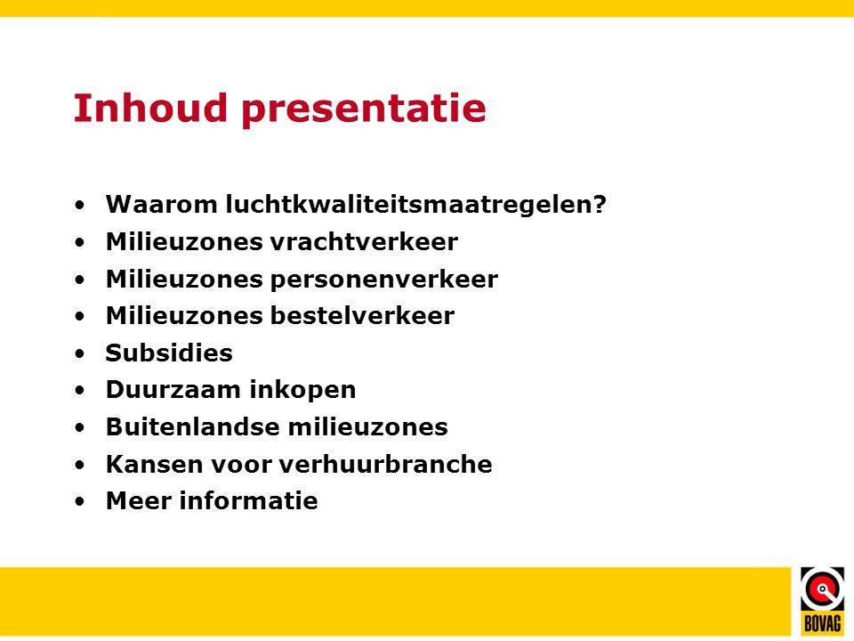 Inhoud presentatie •Waarom luchtkwaliteitsmaatregelen.