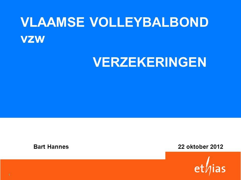 1 VLAAMSE VOLLEYBALBOND vzw VERZEKERINGEN Bart Hannes22 oktober 2012