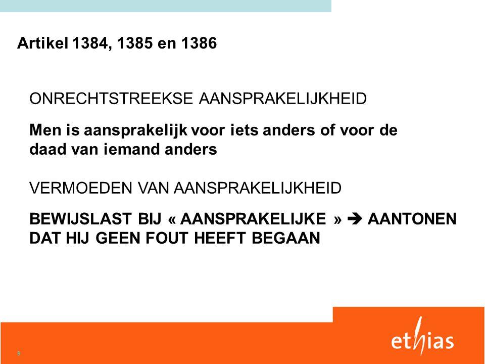 9 ONRECHTSTREEKSE AANSPRAKELIJKHEID Men is aansprakelijk voor iets anders of voor de daad van iemand anders VERMOEDEN VAN AANSPRAKELIJKHEID BEWIJSLAST BIJ « AANSPRAKELIJKE »  AANTONEN DAT HIJ GEEN FOUT HEEFT BEGAAN Artikel 1384, 1385 en 1386