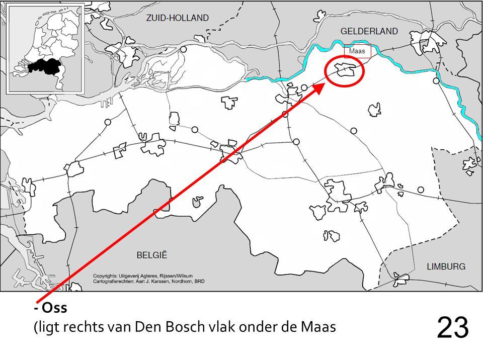 - Oss (ligt rechts van Den Bosch vlak onder de Maas 23 Maas