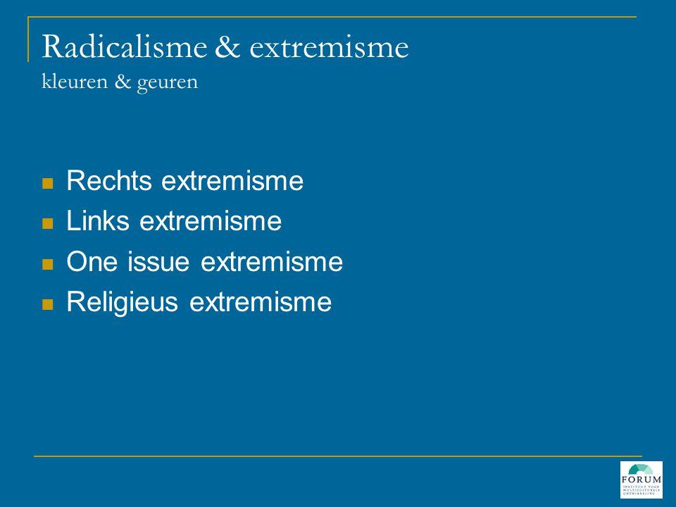 Radicalisme & extremisme kleuren & geuren  Rechts extremisme  Links extremisme  One issue extremisme  Religieus extremisme