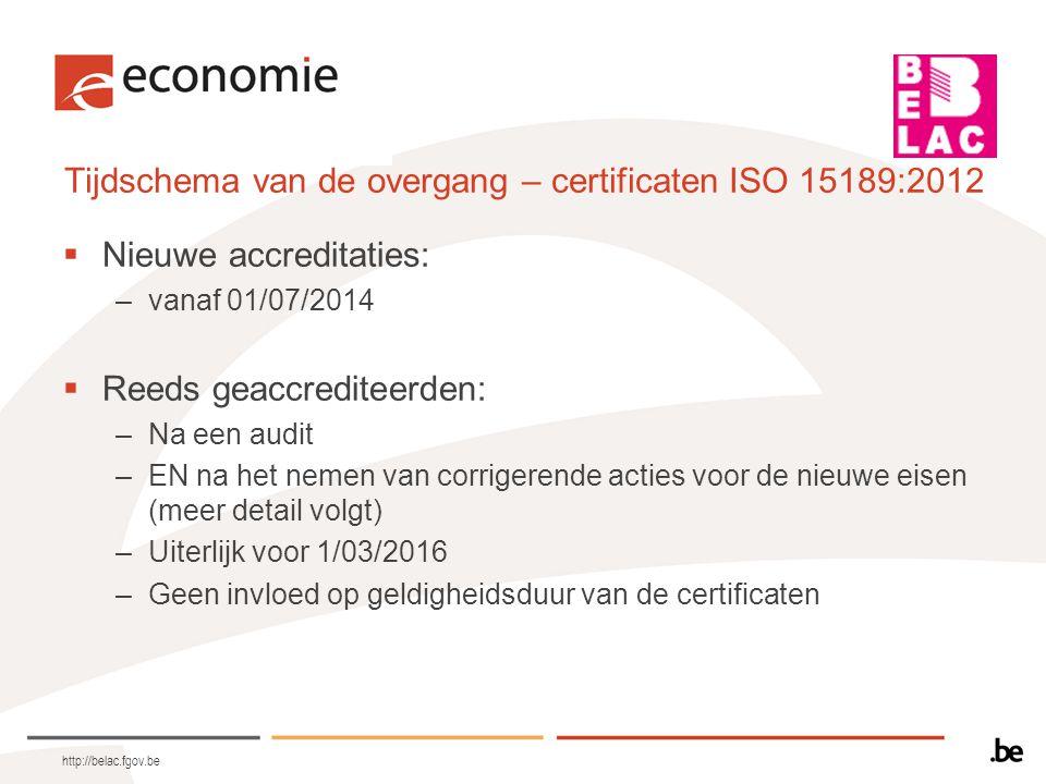 Transitieplan  Enkel voor de geaccrediteerden  1 maand voor de audit aanleveren en uiterlijk op 31/12/2014  Uitgebreide checklist met alle normelementen  Documentatie.