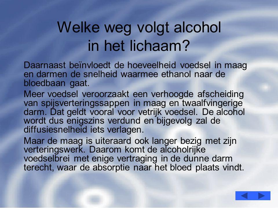 5 Welke weg volgt alcohol in het lichaam.