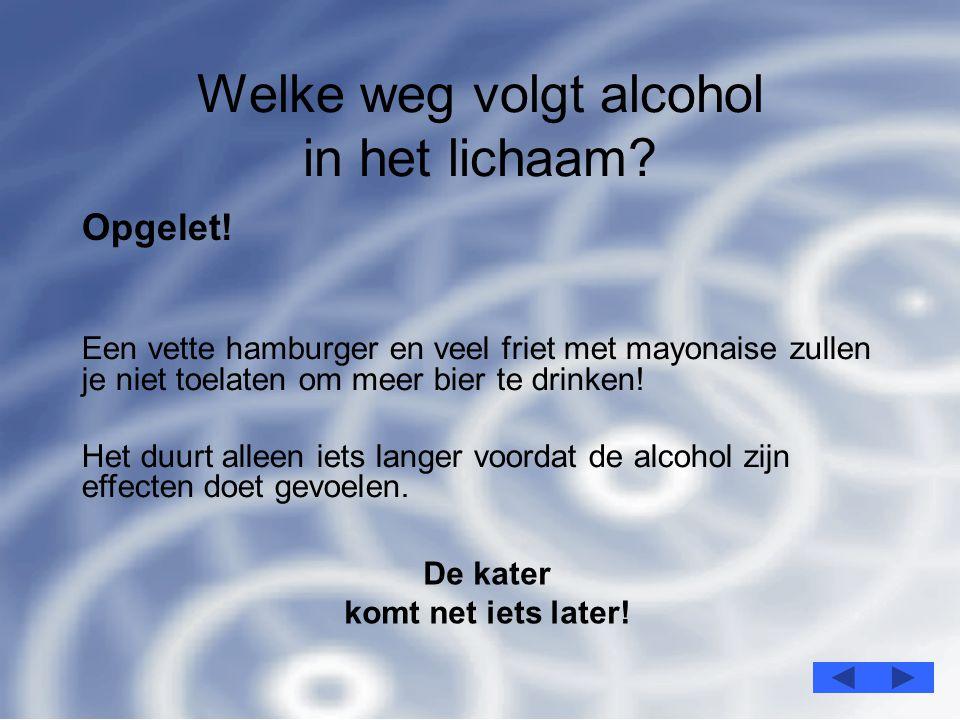 6 Welke weg volgt alcohol in het lichaam.Opgelet.