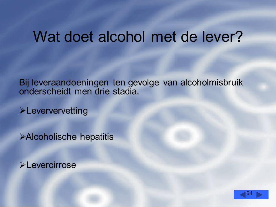 64 Bij leveraandoeningen ten gevolge van alcoholmisbruik onderscheidt men drie stadia.