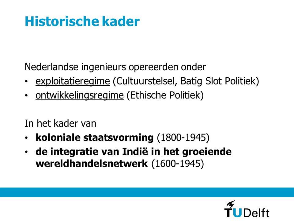 Historische kader Nederlandse ingenieurs opereerden onder • exploitatieregime (Cultuurstelsel, Batig Slot Politiek) • ontwikkelingsregime (Ethische Po