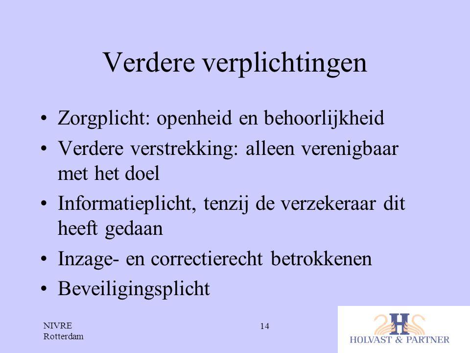 NIVRE Rotterdam 14 Verdere verplichtingen •Zorgplicht: openheid en behoorlijkheid •Verdere verstrekking: alleen verenigbaar met het doel •Informatiepl