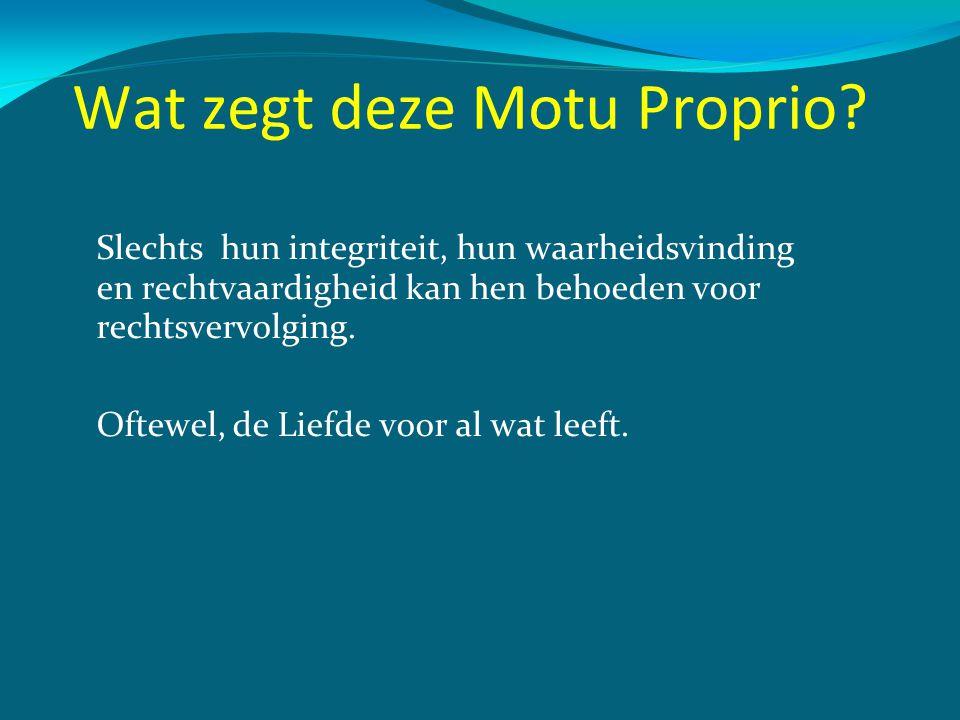 Wat zegt deze Motu Proprio? Slechts hun integriteit, hun waarheidsvinding en rechtvaardigheid kan hen behoeden voor rechtsvervolging. Oftewel, de Lief