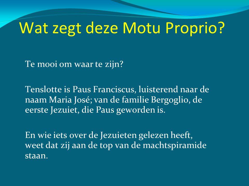 Wat zegt deze Motu Proprio? Te mooi om waar te zijn? Tenslotte is Paus Franciscus, luisterend naar de naam Maria José; van de familie Bergoglio, de ee