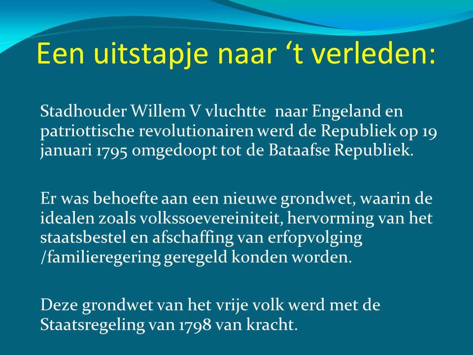 Een uitstapje naar 't verleden: Stadhouder Willem V vluchtte naar Engeland en patriottische revolutionairen werd de Republiek op 19 januari 1795 omged