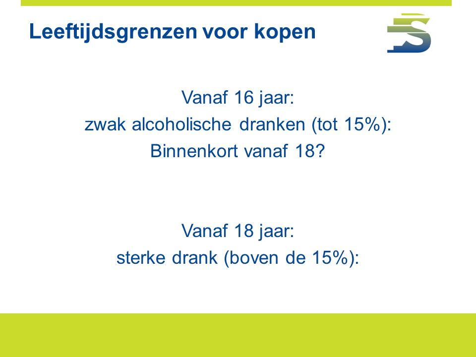 Leeftijdsgrenzen voor kopen Vanaf 16 jaar: zwak alcoholische dranken (tot 15%): Binnenkort vanaf 18? Vanaf 18 jaar: sterke drank (boven de 15%):