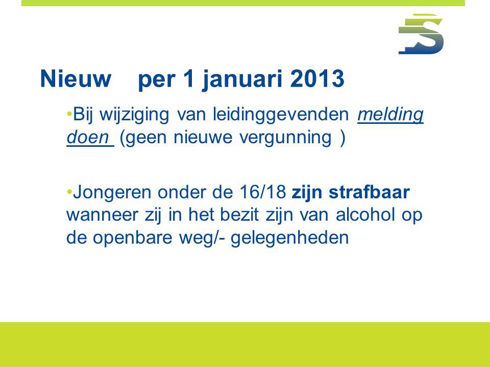 Nieuwper 1 januari 2013 •Bij wijziging van leidinggevenden melding doen (geen nieuwe vergunning ) •Jongeren onder de 16/18 zijn strafbaar wanneer zij