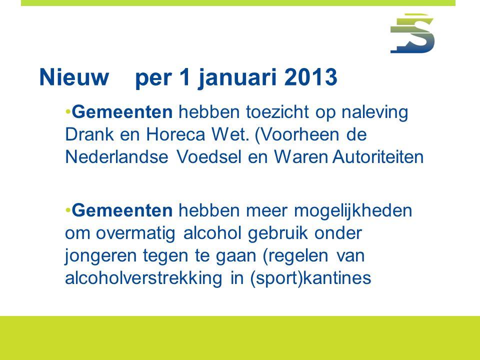 Nieuwper 1 januari 2013 •Gemeenten hebben toezicht op naleving Drank en Horeca Wet. (Voorheen de Nederlandse Voedsel en Waren Autoriteiten •Gemeenten